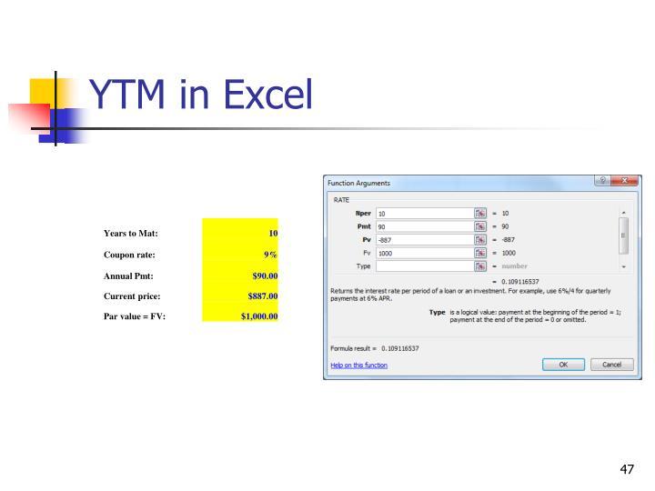 YTM in Excel