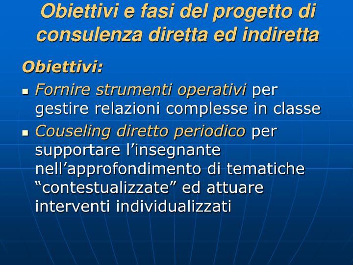 Obiettivi e fasi del progetto di consulenza diretta ed indiretta