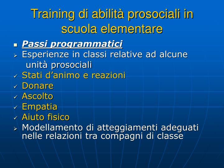 Training di abilità prosociali in scuola elementare