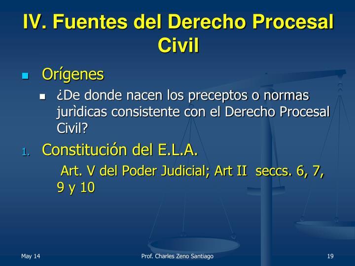 IV. Fuentes del Derecho Procesal Civil