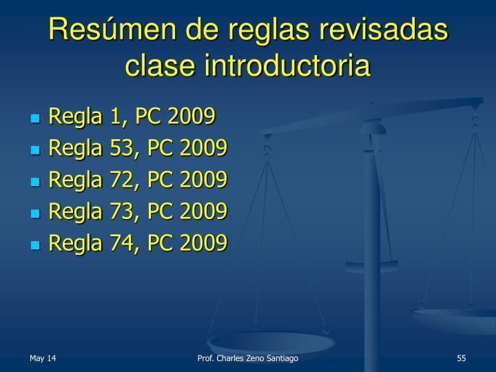 Resúmen de reglas revisadas clase introductoria