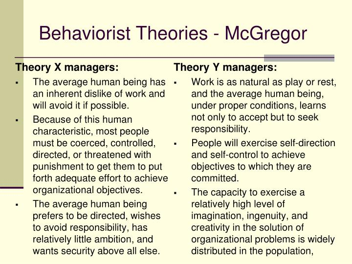 Behaviorist Theories - McGregor