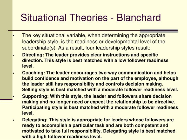 Situational Theories - Blanchard