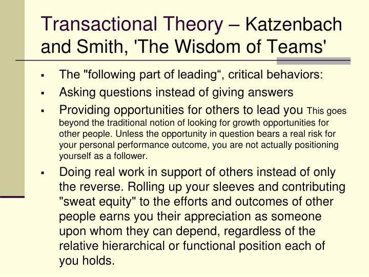 Transactional Theory –