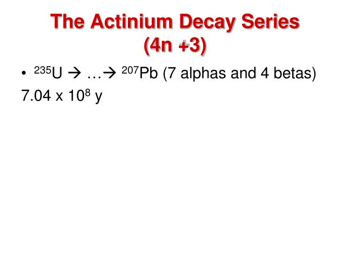 The Actinium Decay Series