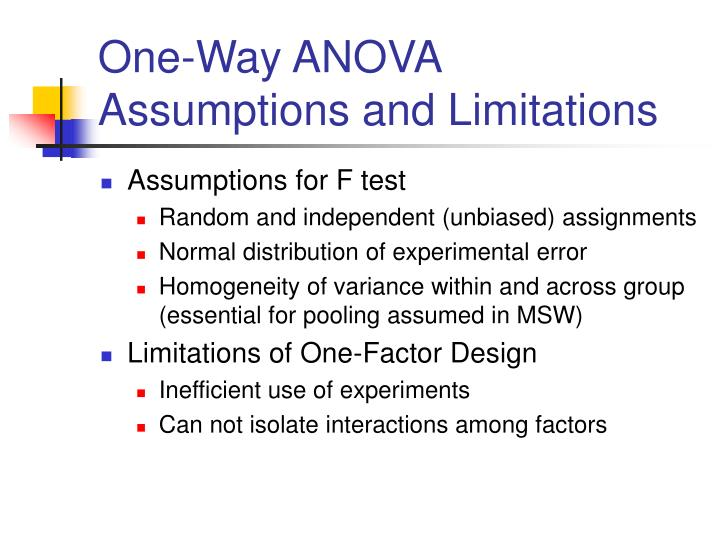 One-Way ANOVA Assumptions and Limitations