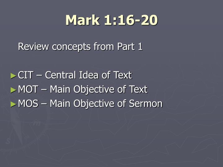 Mark 1:16-20