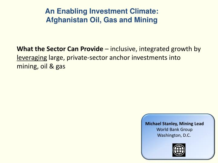 An Enabling Investment Climate: