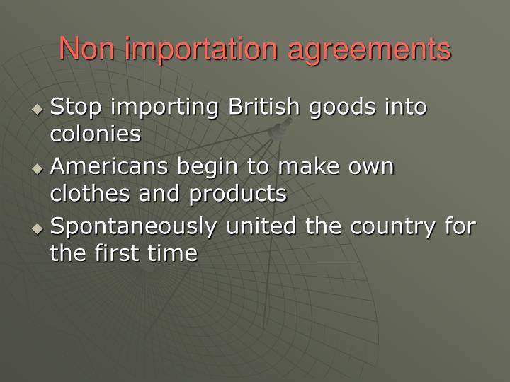 Non importation agreements
