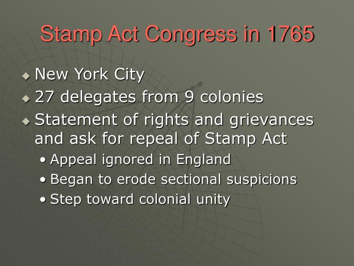 Stamp Act Congress in 1765
