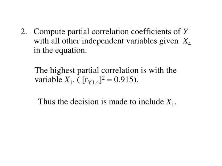 Compute partial correlation coefficients of