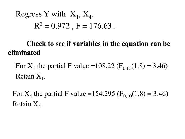 Regress Y with  X