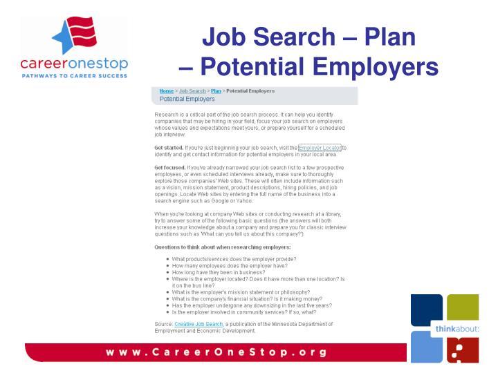 Job Search – Plan