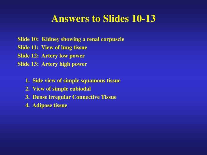 Answers to Slides 10-13