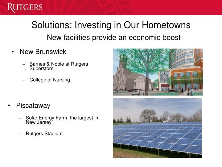 Solutions: Investing in Our Hometowns