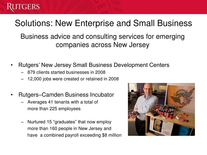 Solutions: New Enterprise and Small Business
