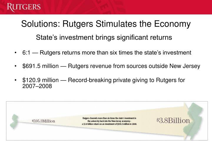 Solutions rutgers stimulates the economy
