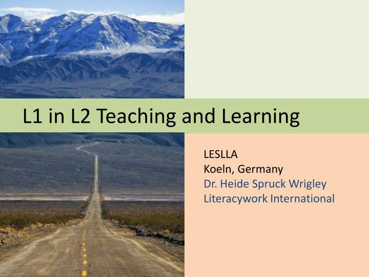 l1 in l2 teaching and learning