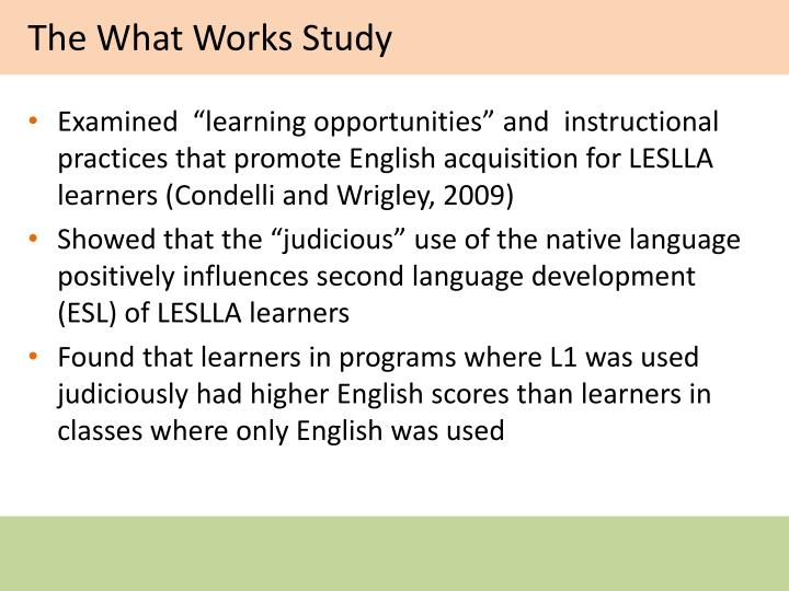 The What Works Study