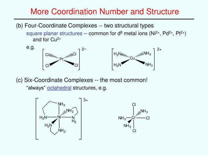 More Coordination Number and Structure