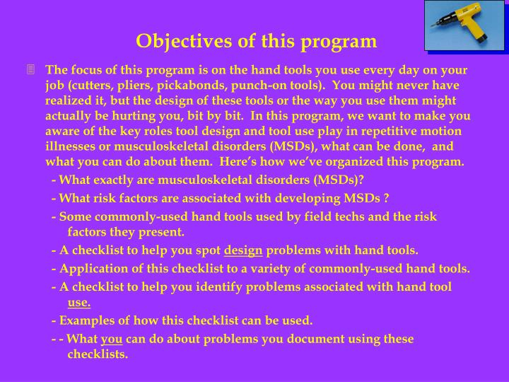 Objectives of this program