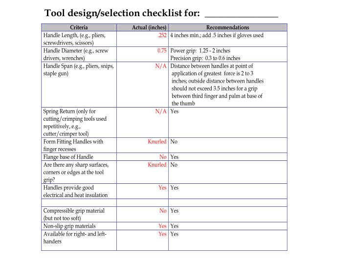 Tool design/selection checklist for:  _______________