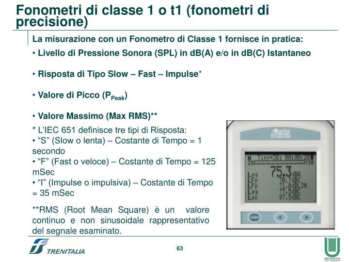 Fonometri di classe 1 o t1 (fonometri di precisione)