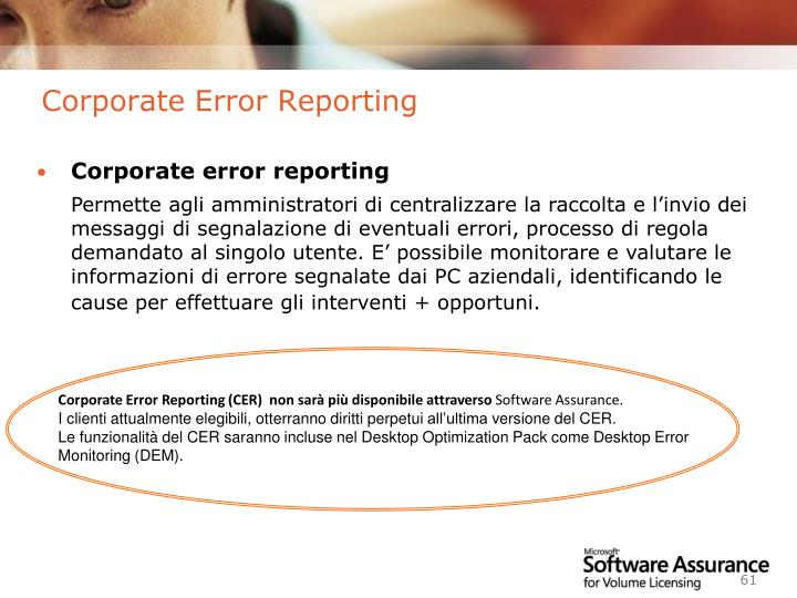 Corporate Error Reporting