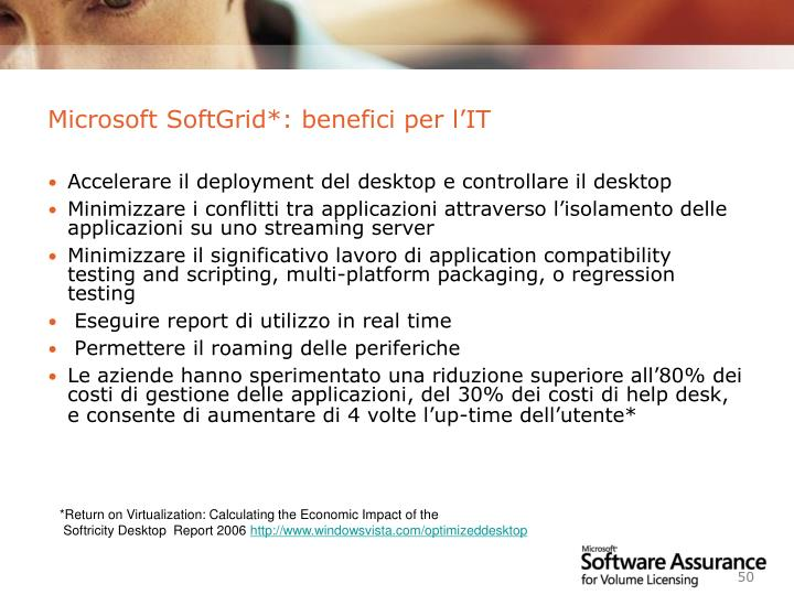 Microsoft SoftGrid*: benefici per l'IT