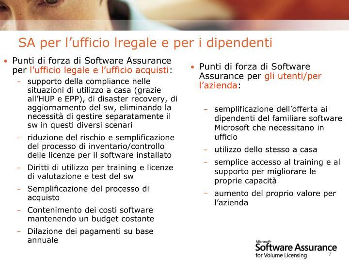 Punti di forza di Software Assurance per