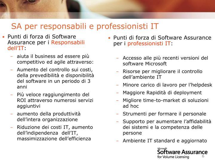 Punti di forza di Software Assurance per i