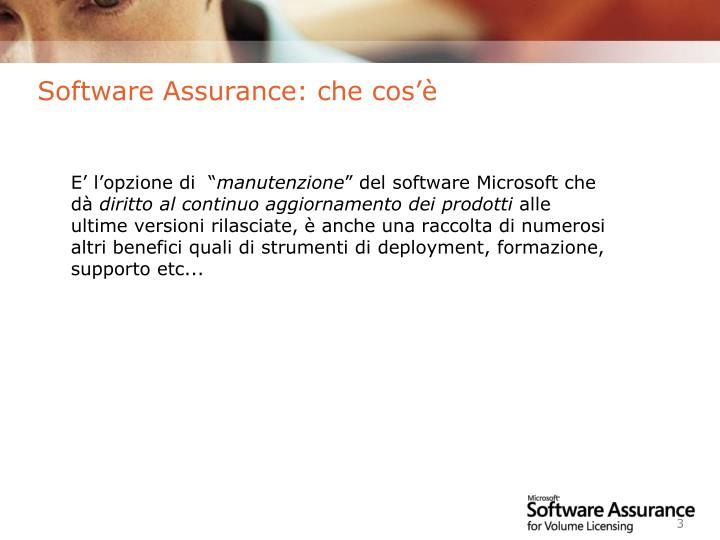 Software assurance che cos