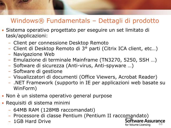 Windows® Fundamentals – Dettagli di prodotto