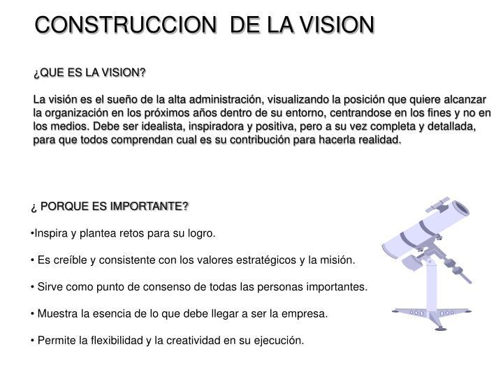 CONSTRUCCION  DE LA VISION