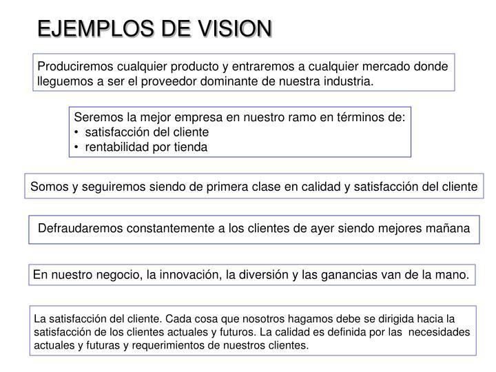 EJEMPLOS DE VISION