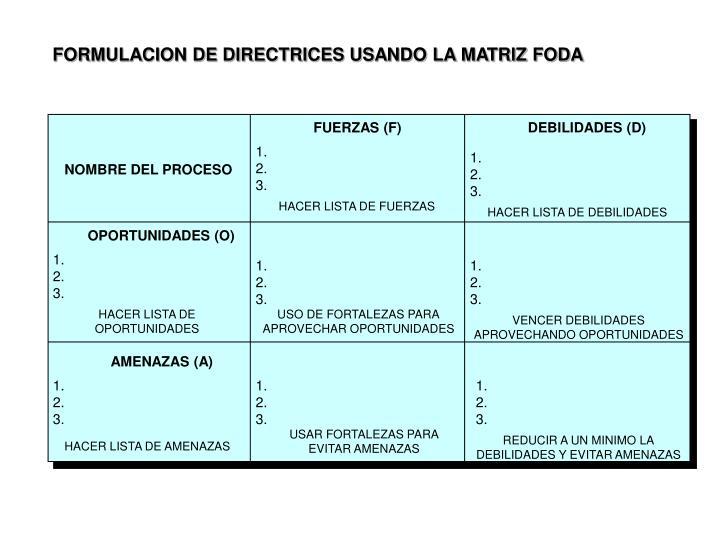 FORMULACION DE DIRECTRICES USANDO LA MATRIZ FODA