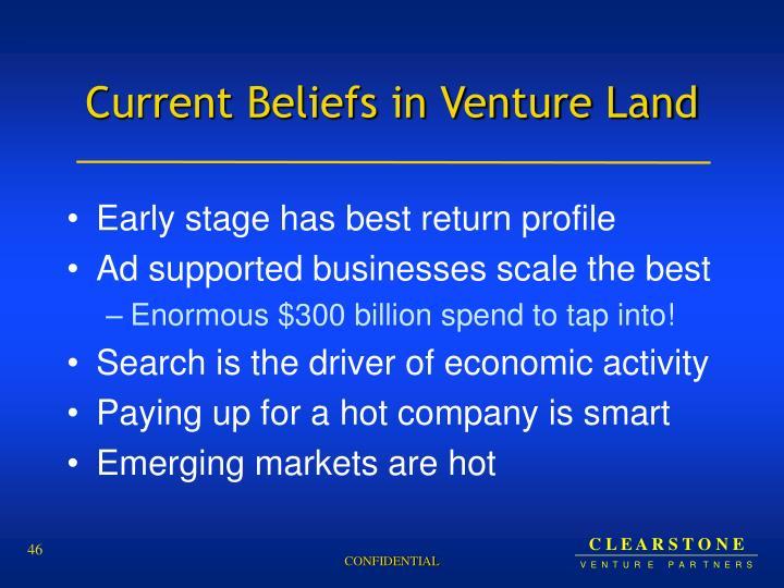 Current Beliefs in Venture Land