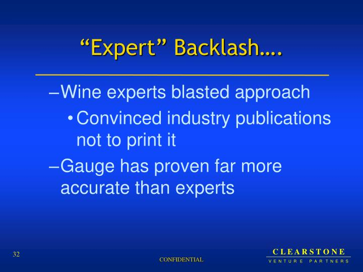 """""""Expert"""" Backlash…."""