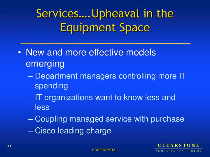 Services….Upheaval in the Equipment Space