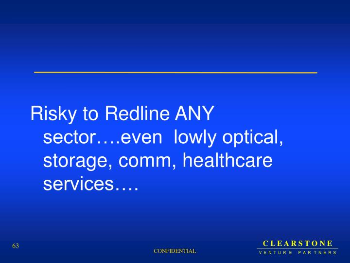 Risky to Redline ANY sector….even  lowly optical, storage, comm, healthcare services….