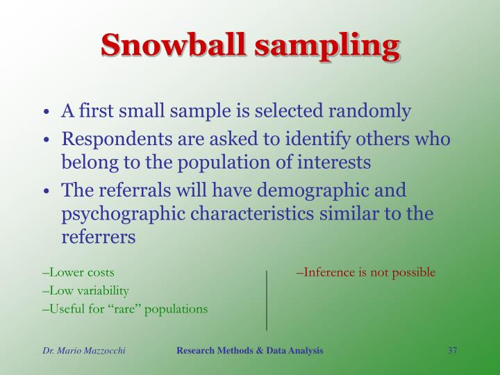 sampling methods in research examples Types of sampling we may then consider different types of probability samples although there are a number of different methods that might be used to create a sample, they generally can be grouped into one of two categories: probability samples or non-probability samples.