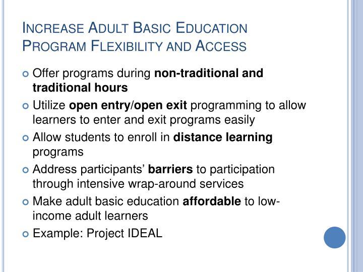 Increase Adult Basic Education Program Flexibility and Access