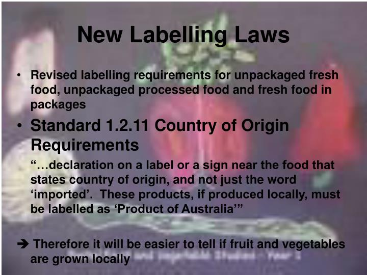 New Labelling Laws