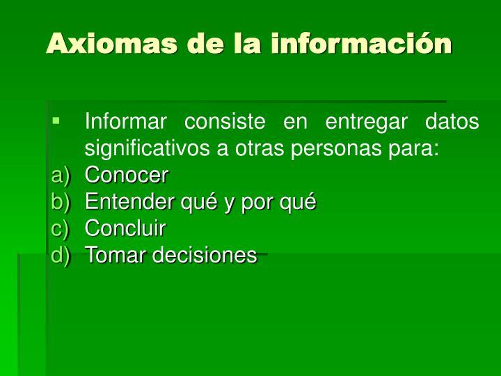 Axiomas de la información