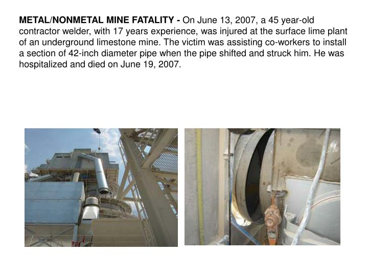 METAL/NONMETAL MINE FATALITY -