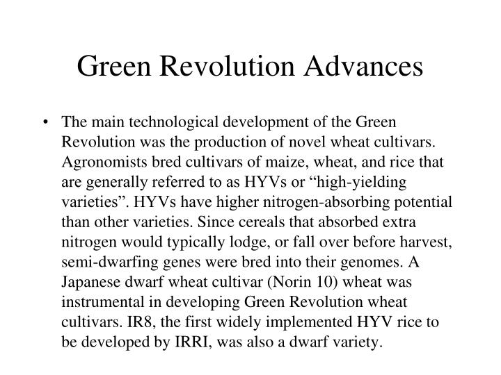 Green Revolution Advances