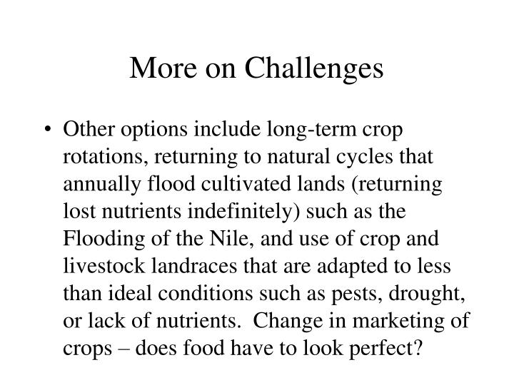 More on Challenges
