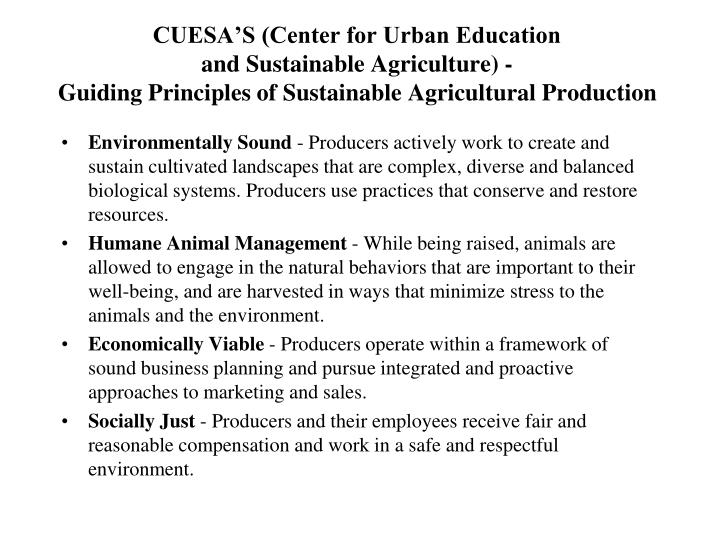 CUESA'S (Center for Urban Education