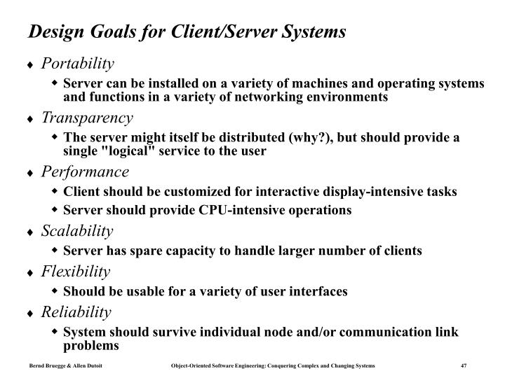 Design Goals for Client/Server Systems