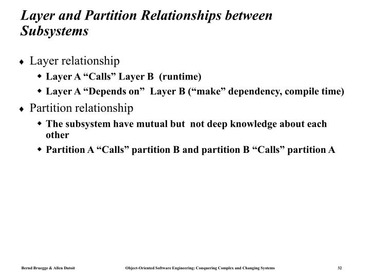 Layer and Partition Relationships between Subsystems